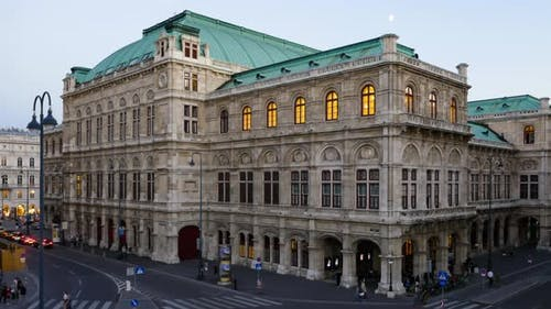 Evening Hyperlapse of Vienna Opera