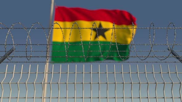 Thumbnail for National Flag of Ghana Behind Barbed Wire Fence