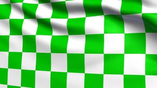 Auto Racing Green White Checkered Flag