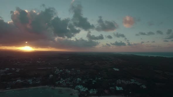 Cover Image for Mauritius Island at Sunset, Aerial View