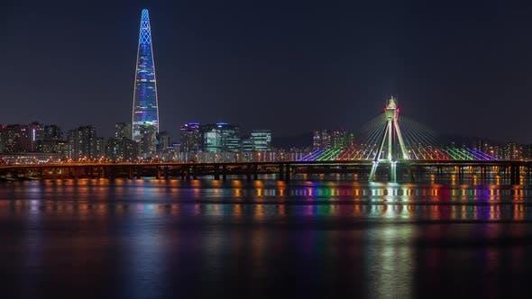 Korea Illuminated Highrise Lotte World Seoul Tower