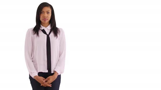 Thumbnail for Pretty African American businesswoman on white background with copyspace