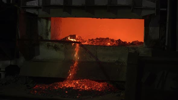 Thumbnail for The Process of Melting Metal at the Plant in the Furnace. Workers Remove the Slag, To Obtain a Pure