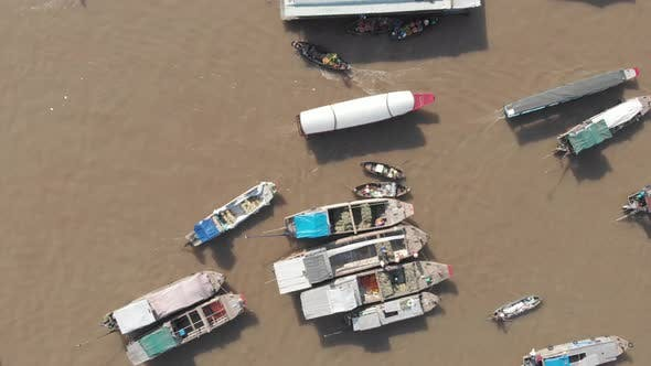 Thumbnail for Aerial: flying directly above Cai Rang floating market Can Tho, Vietnam
