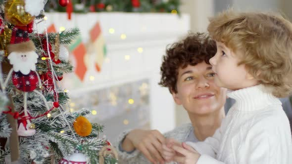 Thumbnail for Little Boy and His Mother Putting Decorations on Christmas Tree