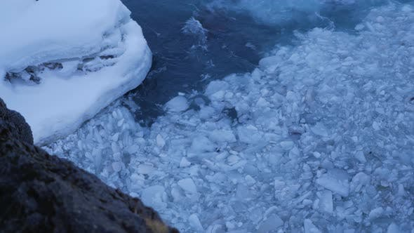 Thumbnail for Iceland View of Swirling Ice Chunks Trapped in Strong Water Current 2