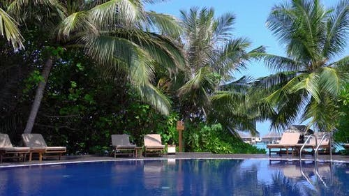 Poolside with Sunbeds. Travel Destinations