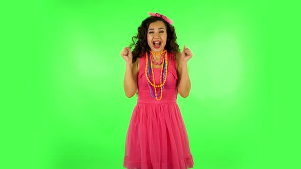 Thumbnail for Very Surprised Girl Very Happy. Green Screen at Studio