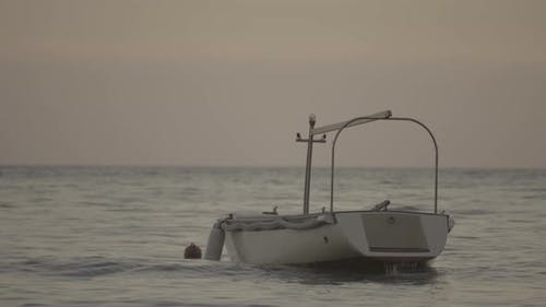 Boat in the Sea. Sveti Stefan. Montenegro