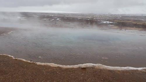 Steam at the Geysir Southwestern Iceland