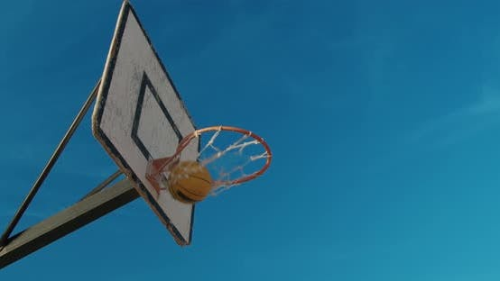Thumbnail for Basketball Ball Hits the Hoop
