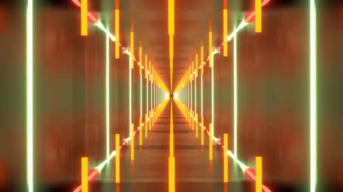 Beautiful Abstract Endless Looping Square Tunnel and Neon Lights