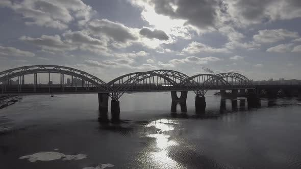 Thumbnail for Flying Over the Road and Rail Bridge Over the Iron Bridge. Aerial Survey