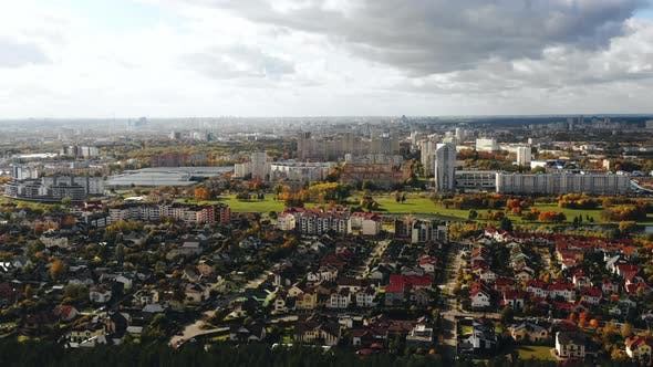 Thumbnail for Beautiful Aerial Background Panorama of Suburb House Neighborhood District, Buildings and Trees in