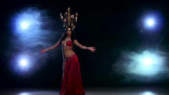 Thumbnail for Attractive Belly Dancer Girl Starts Dancing with Candles on Her Head, Black, Smoke