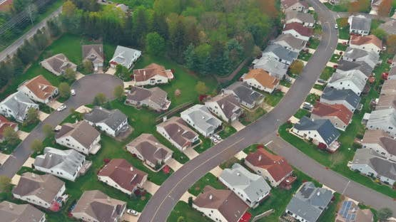 Panoramic view of a neighborhood in roofs of houses of residential area houses USA