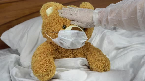 Thumbnail for Teddy Bear Measure the Temperature By Hand. The Doctor Makes a Measurement of Temperature By