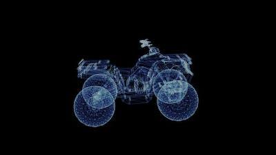 Hologram of a Rotating Off-road Quad Bike