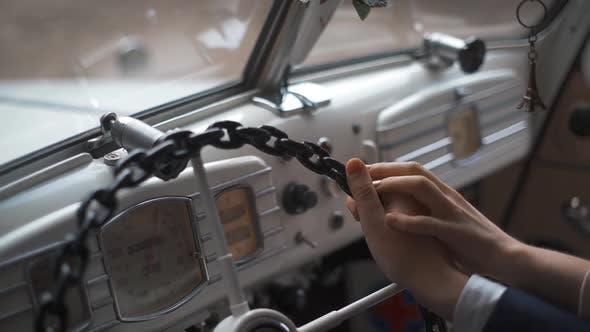 Thumbnail for Wedding Couple Inside Retro Car