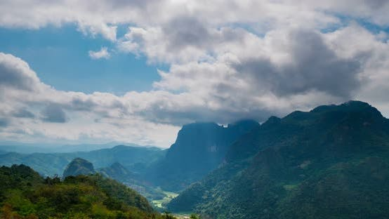 Thumbnail for Time lapse: Laos landscape motion clouds Nong Khiaw Muang Ngoi, dramatic sky