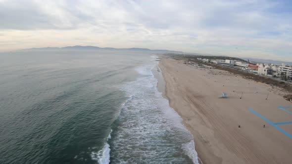 Thumbnail for Dockweiler Beach Playa Del Ray California Aerial Flying Above Coast