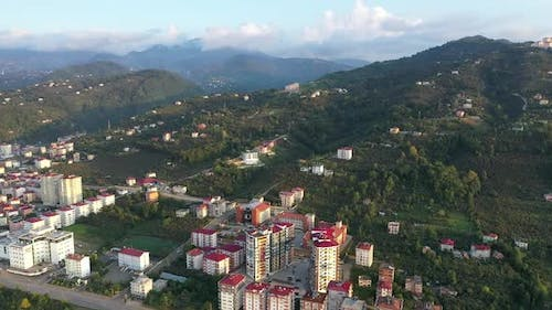 Trabzon City And Mountains Aerial View