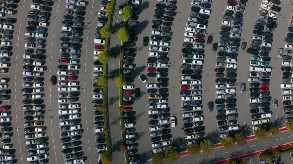 Thumbnail for Aerial Top View of the Supermarket Parking Lot with Lots of Cars.