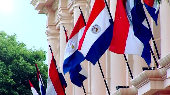 Thumbnail for Paraguayan Flags in a Building of Asuncion (Paraguay).