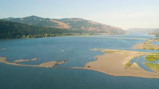 Thumbnail for Columbia River Sand Spit Aerial Landscape - Hood River, Oregon USA