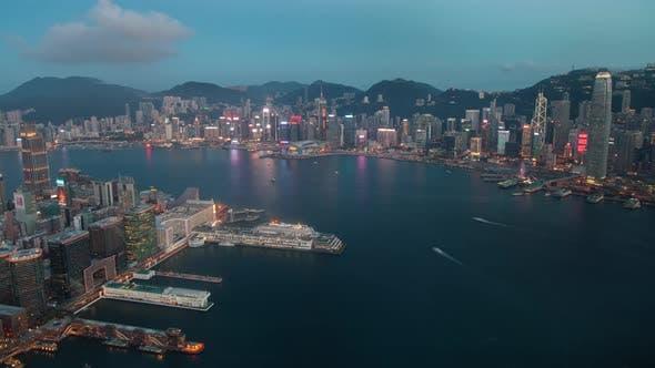 Hong Kong cityscape sunset timelapse