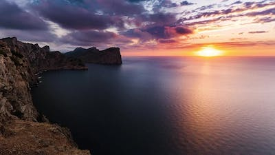 Formentor, Spain, Timelapse - The shore of Formentor at Sunset
