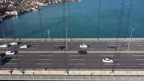 Thumbnail for Istanbul Bosphorus Bridge Traffic And Sea Aerial View