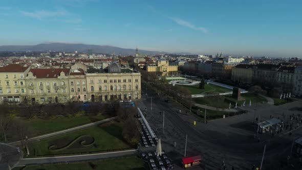 Aerial view of city squares
