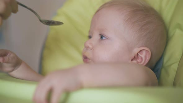 Mother Feeds Little Son with Puree in Comfortable Highchair
