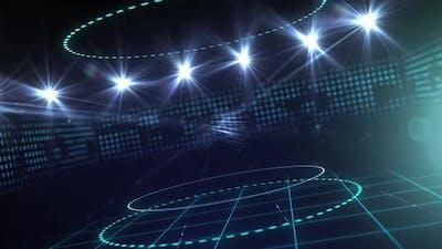Animation of rotating sports arena stadium