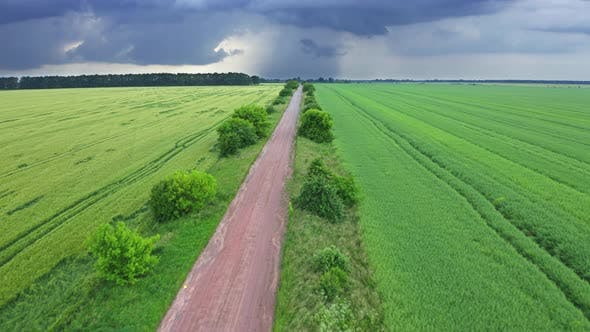 Thumbnail for Aerial View Road Between The Field