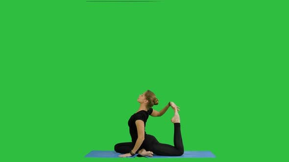 Thumbnail for Young Beautiful Yoga Posing On, Stretching, Practicing Yoga on a Green Screen, Chroma Key
