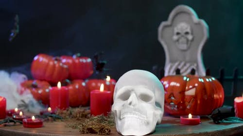 Halloween Decorations on a Table