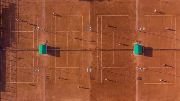 Thumbnail for Top Down Aerial Footage of a Tennis Match. Time Lapse, .