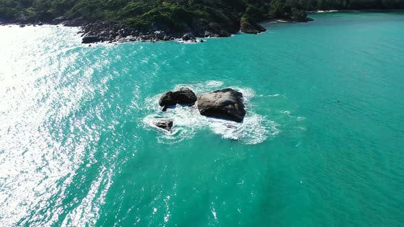 Thumbnail for Daytime flying copy space shot of a paradise sunny white sand beach and aqua blue water background i