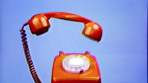 A Red Classic Rotary Telephone Stop Motion