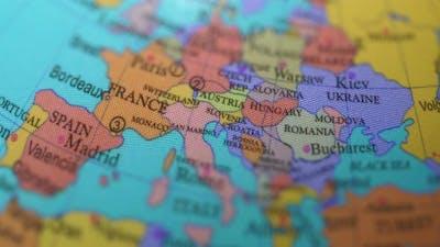 European Countries On The Rotating Globe.