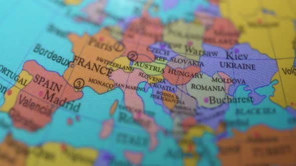 Thumbnail for European Countries On The Rotating Globe.