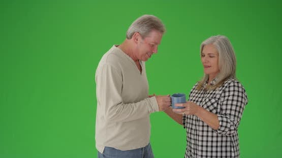 Beautiful caucasian senior couple on a green screen