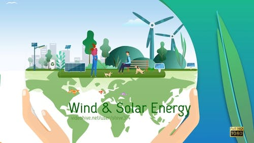 Wind Power and Solar Energy Panels in a Modern Urban Park