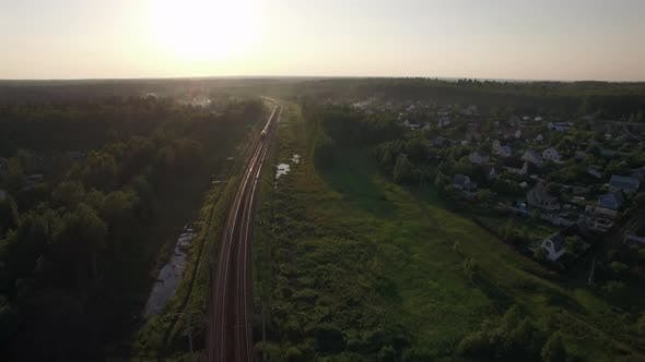 Thumbnail for Aerial View of Freight Train in the Country, Russia