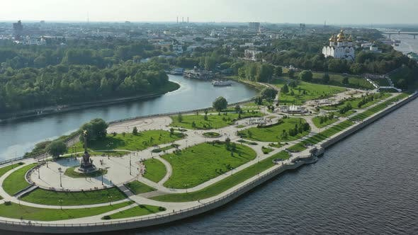 Thumbnail for Park Strelka and Volga River in Yaroslavl Russia