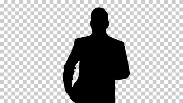 Thumbnail for Silhouette businessman walking, Alpha Channel