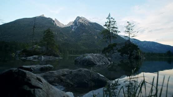 Thumbnail for Impressive Hintersee Lake in Dusk Blue Hour. Ramsau, Berchtesgaden, Bavaria, Germany, Europe