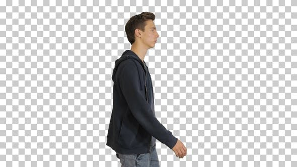 Thumbnail for Attractive casual young man walking, Alpha Channel